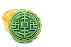 Moon Cake. Chinese Moon cake green tea and durian filling on white background , for celebrate in Mid-autumn festival royalty free stock image