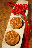 Moon cake and Chinese knot Stock Photos