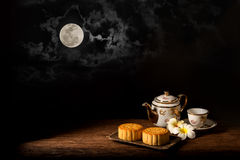 Moon Cake. Chinese Mooncake for the Lunar Harvest Festival Royalty Free Stock Photo