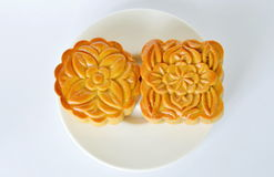 Moon cake Chinese tradition dessert in festival on dish Stock Photos