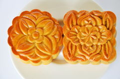Moon cake Chinese tradition dessert in festival on dish Stock Image
