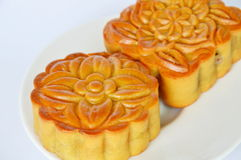 Moon cake Chinese tradition dessert in festival on dish Stock Images
