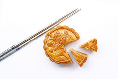 The Moon Cake. With Chopsticks Royalty Free Stock Images