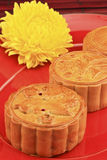 Moon Cake with chrysanthemum Stock Photos