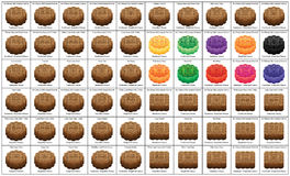 Moon cake circle square name set. This illustration is 35 name moon cake set with colors and square in object on white color background Royalty Free Stock Photo