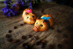 Moon cake festival. Happy moon cake festival couple of pig celebrate with royalty free stock image