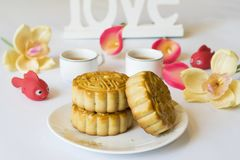 Moon cake, food for Vietnamese mid autumn festival. Focus on moon cake and others are blurred.  Stock Photography