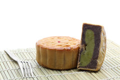 Moon cake with fork Royalty Free Stock Image