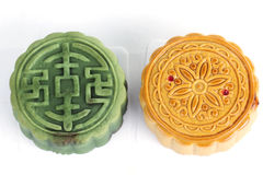 Moon cake green tea and durian filling on white background Stock Images