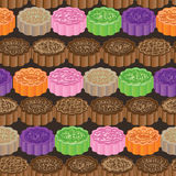 Moon cake horizontal seamless pattern Royalty Free Stock Photo