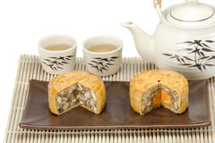 Moon cake with nuts and yolk inside Stock Images
