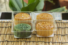 Moon cake on plastic box Royalty Free Stock Images