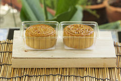 Moon cake on plastic box Stock Images