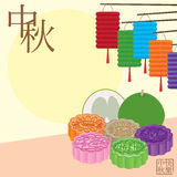 Moon cake pomelo lantern celebrate card Stock Images