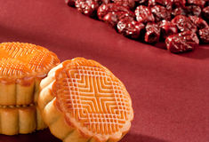 Moon cake. The red theme nutrition and health moon cake Royalty Free Stock Images