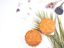 Moon cake sweets dessert on white background. Use as traditional Chinese festival stock images