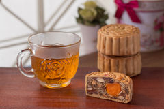 Moon cake and tea Royalty Free Stock Photos