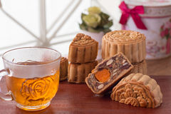 Moon cake and tea Stock Images