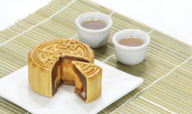Moon cake with tea Stock Photo