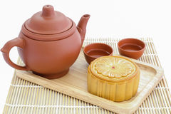 Moon Cake with tea set Royalty Free Stock Photography