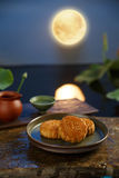Moon cake. Traditiona delicious food - moon cake royalty free stock images