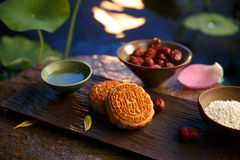Moon cake. Traditiona delicious food - moon cake royalty free stock photos
