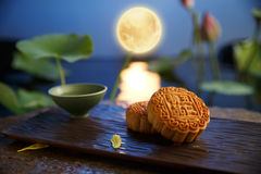 Moon cake. Traditiona delicious food - moon cake royalty free stock photo