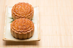 Moon cake traditional cake of Vietnamese - Chinese mid autumn festival food.  Royalty Free Stock Photo