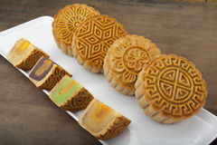 Moon cake traditional cake of Vietnamese - Chinese mid autumn festival food Stock Photography