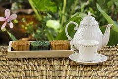 Moon cake on the tray Jug of tea Royalty Free Stock Image