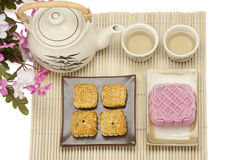 Moon cake two size with tea Stock Photography