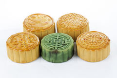 Moon cake on white background Royalty Free Stock Photos