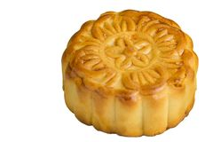 Moon cake. On white background - food for chinese mid autumn festival Royalty Free Stock Image