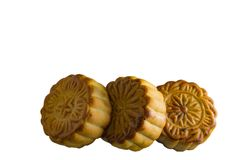 Moon cake. On white background - food for chinese mid autumn festival Royalty Free Stock Photos