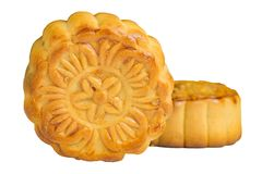 Moon cake. On white background - food for chinese mid autumn festival Royalty Free Stock Images