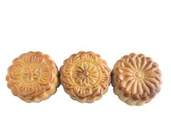 Moon cake. On white background - food for chinese mid autumn festival Stock Image