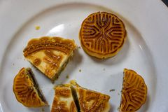 Moon cakes in celebration of Chinese Mid-Autumn Day royalty free stock photos