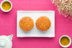 Moon cakes for the Chinese Mid-autumn festival Stock Images