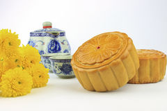 Moon cakes decorated with chrysanthemum Royalty Free Stock Image
