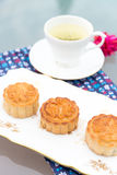 Moon cakes with English fine bone china table ware Stock Images