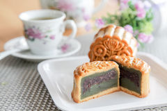 Moon cakes with green tea and red beans filling Stock Image