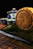 Moon cakes on a plate served with tea Stock Photography