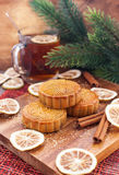 Moon cakes and tea Stock Photography