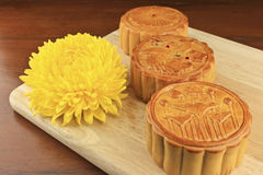 Moon cakes on a wooden tray. Stock Photography