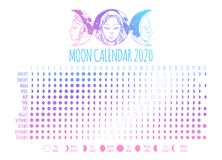 Free Moon Calendar, 2020 Year, Lunar Phases, Cycles. Design Illustrated With Triple Goddess Symbol: Maiden, Mother And Crone. Vector Stock Photography - 155117752