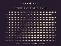 Free Moon Calendar 2021. Lunar Phases Cycles Dates, Full. New And Every Phase In Between, Moon Schedule Monthly Calendar Year Stock Photo - 196222730