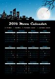 Moon calendar 2016. Сalendar 2016 with phases of the moon/ UTC Stock Photo