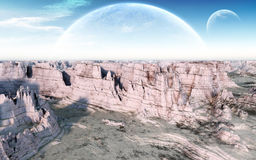 Moon Canyon. A windy canyon in a bright day with giant moons visible on the blue sky horizon. High quality fantasy landscape illustration ideal for album and Royalty Free Stock Photo