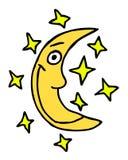 Moon cartoon. Hand drawn moon, cartoon illustration royalty free illustration