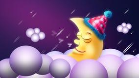 Moon cartoon sleeping on clouds at night  shooting stars  night fantasy  looped animation background.